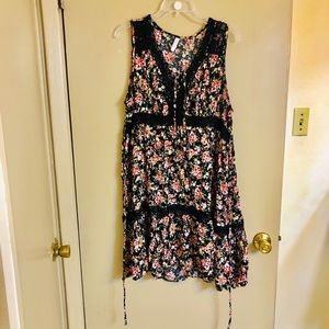 Xhilaration Black Floral Dress with Lace Size L